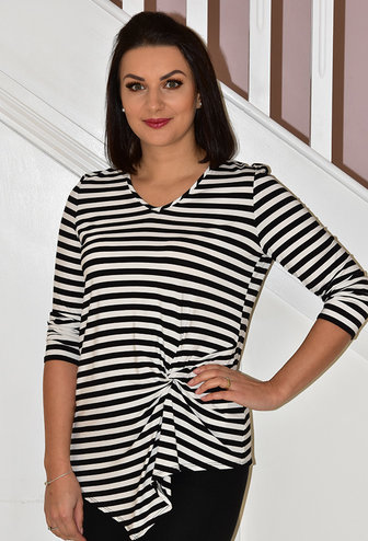JOSEPH RIBKOFF LONG SLEEVE STRIPE TOP WITH KNOT