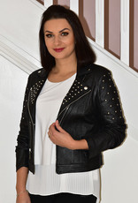 JOSEPH RIBKOFF Leather Feel Jacket With Studs
