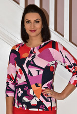 RABE Pink Abstract Floral Design Jumper