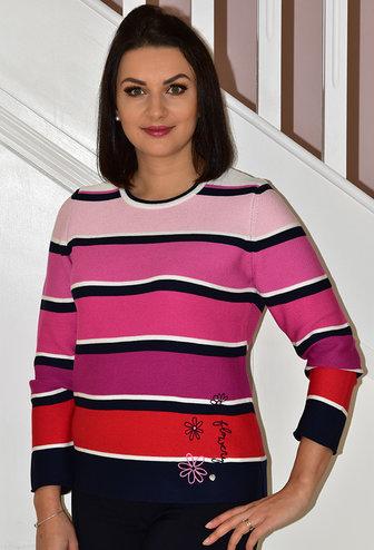 RABE Pink & Navy Stripe Gradient Jumper