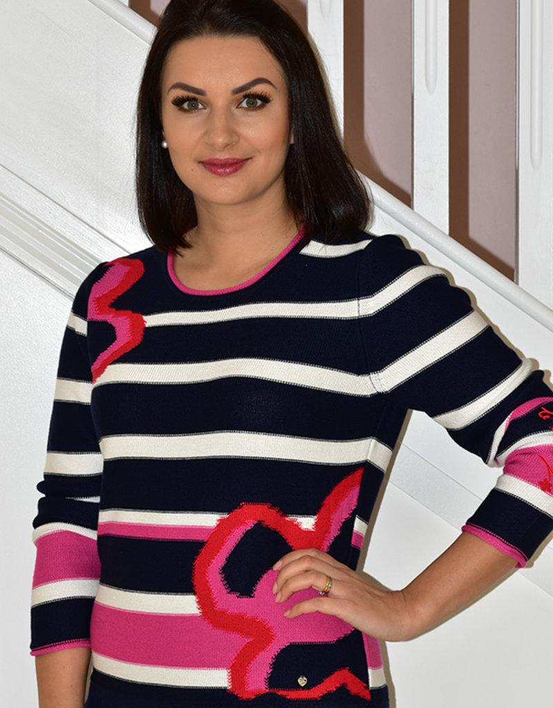 RABE Navy & White Stripe Knit Jumper