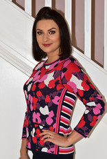 RABE Pink & Navy Floral Print Knit Jumper