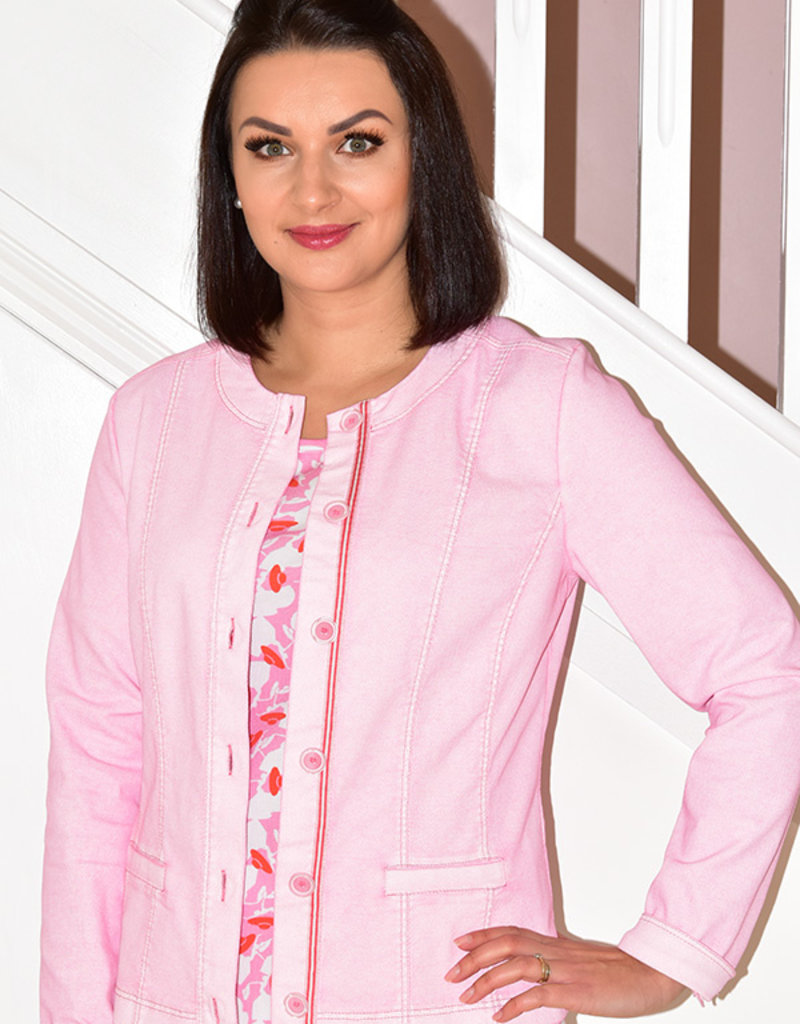 JUST WHITE Rose Unique Jacket With Buttons
