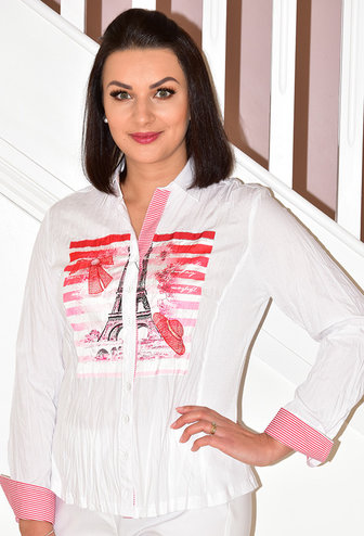 JUST WHITE Eiffel Tower Print White/Coral Blouse