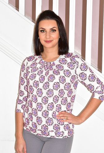 Frank Walder Floral Print Multi Colour Top With 3/4 Sleeves