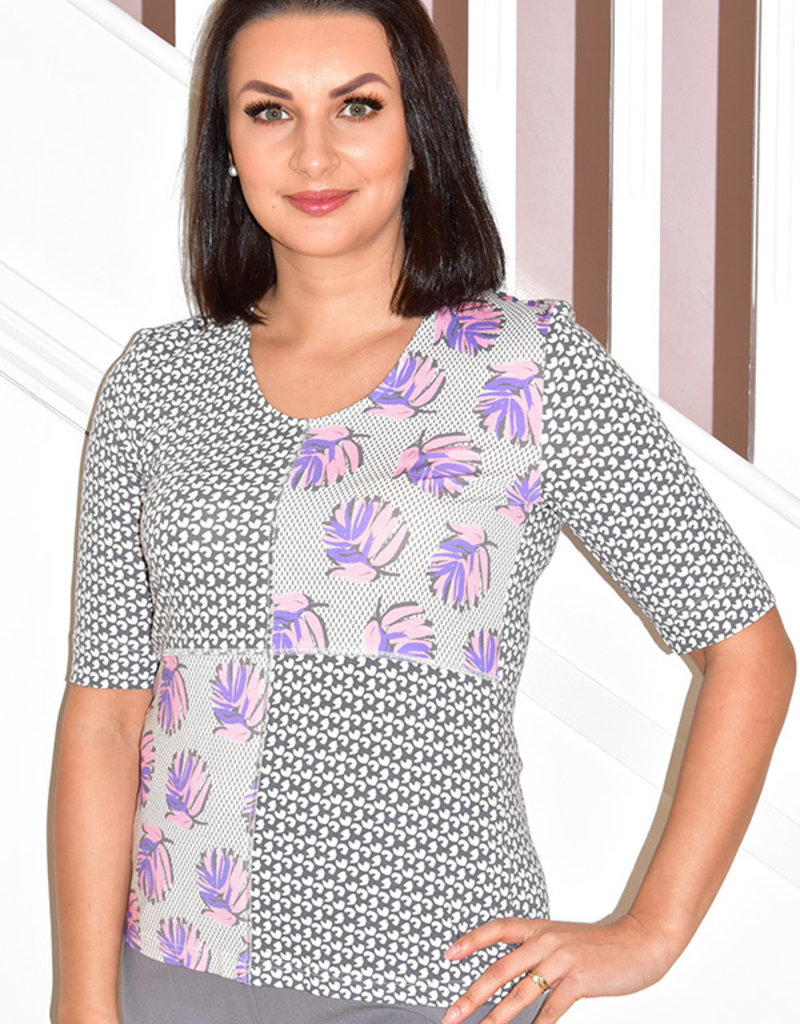 Frank Walder T- Shirt With 3/4 Sleeves Multi Pattern