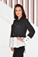 JOSEPH RIBKOFF Black & White Blouse With Buttons on Cuffs