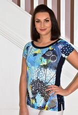 Dolcezza Multi Print Top With Navy Panels & Tie Side Detail