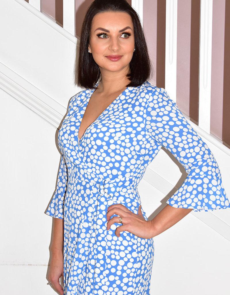 TIA Blue Faux Wrap Dress With Polka Dot Print