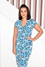 JOSEPH RIBKOFF Blue Multi Print V Neck Dress With Ruching