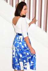 TIA White & Blue Printed Dress With Pockets & Belt