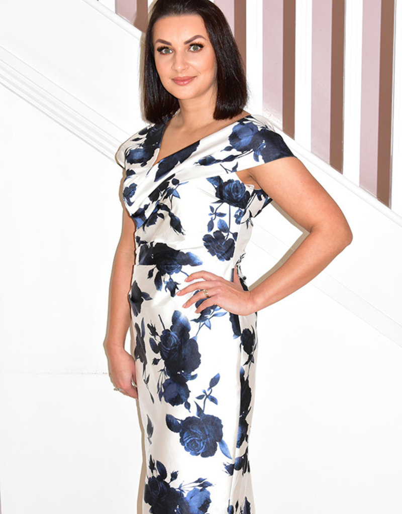 Vermonia Occasions Rose Pattern Navy/Ivory Dress With Ruched Detail