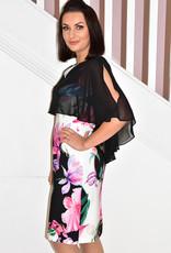 JOSEPH RIBKOFF Dress With Floral Pattern Bottom & Short Sheer Sleeve