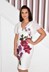 JOSEPH RIBKOFF Short Sleeve Floral Ruched Dress