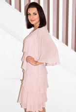 JOSEPH RIBKOFF Rose Dress With Multi Layer Tiers