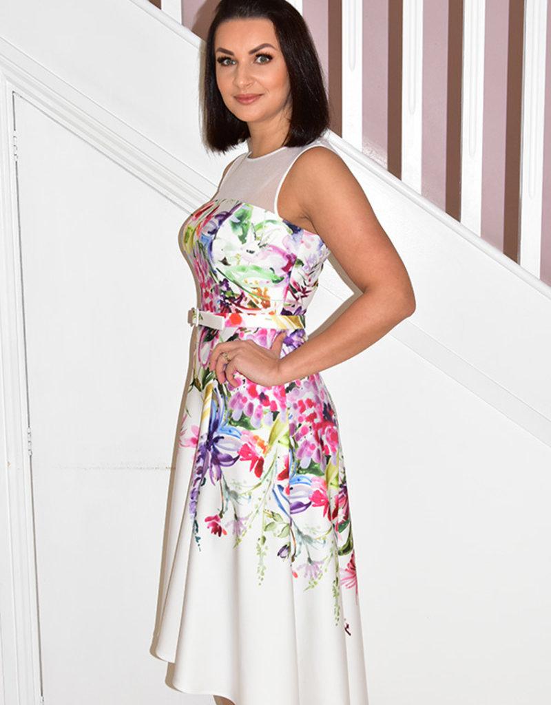 JOSEPH RIBKOFF Floral Print Sleeveless Dress With Belt