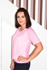 Frank Walder Pink Short Sleeve Top With Pleats