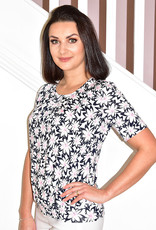Frank Walder Short Sleeve Floral Print Pleated Top