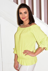 MARBLE Lime Green Top With Elasticated Sleeves & Neck