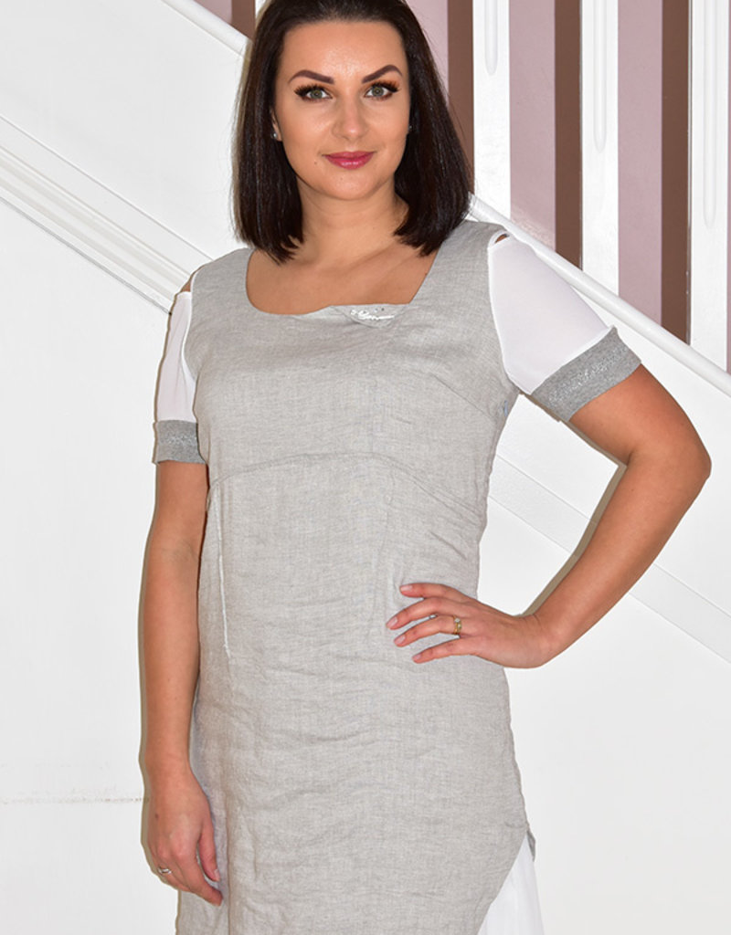 Elisa Cavaletti Cold Shoulder Dress With Grey Layer
