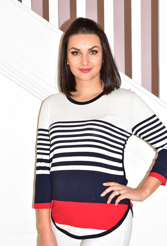 PERUZZI Red/Navy Multi Stripe Top
