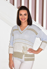 Elisa Cavaletti Knit Jumper With Gold Stripes