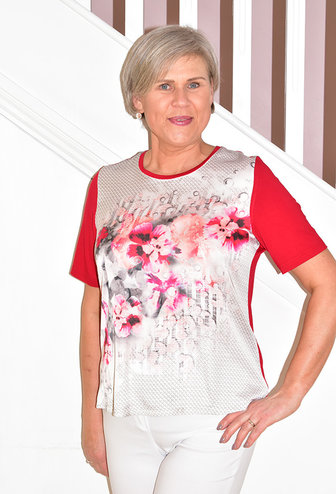 HABELLA Short Sleeve Top With Geometric & Floral Print