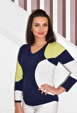 MARBLE Navy/White/ Yellow V Neck Jumper