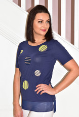 BELLENISA Short Sleeve Navy Top With Circle & Stud Detail