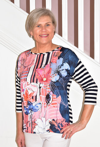 BETTY BARCLAY Floral Print Top With Stripe Sleeve