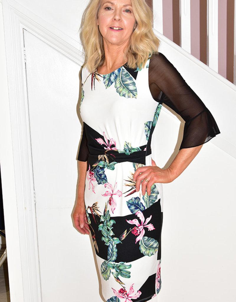MICHAELA LOUISA Floral Print Dress With Sheer Mini Bell Sleeve