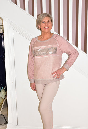 DECOLLAGE Pink Knitted Jumper With Silver Detail Design