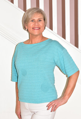 MARBLE Turquoise Ribbed Short Sleeved Jumper With Circle Detail