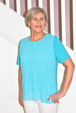 HABELLA Turquoise 3 Tiered Short Sleeve Top