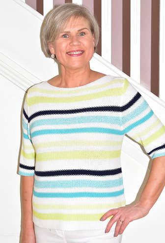 MARBLE Stripe Knitted Multi Coloured/ Lime Green Jumper