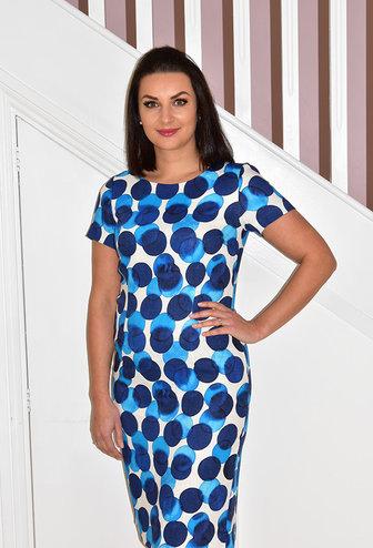 LIBRA Blue & White Circle Print Dress