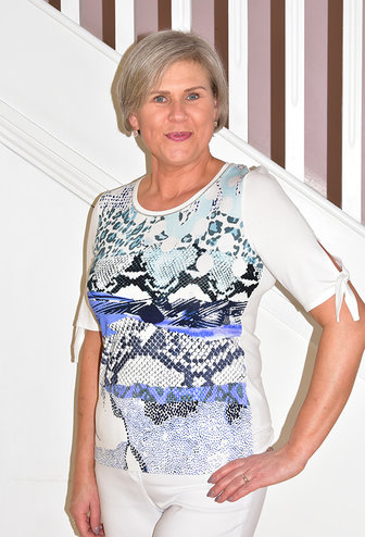 Passioni Print Top With Tie Sleeves & Silver Trim Collar Detail