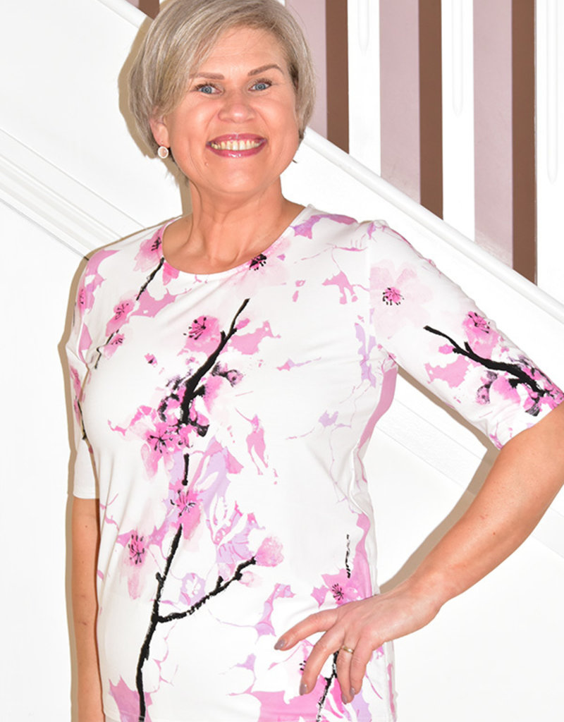 Passioni Short Sleeve Floral Print Top With Side Tie
