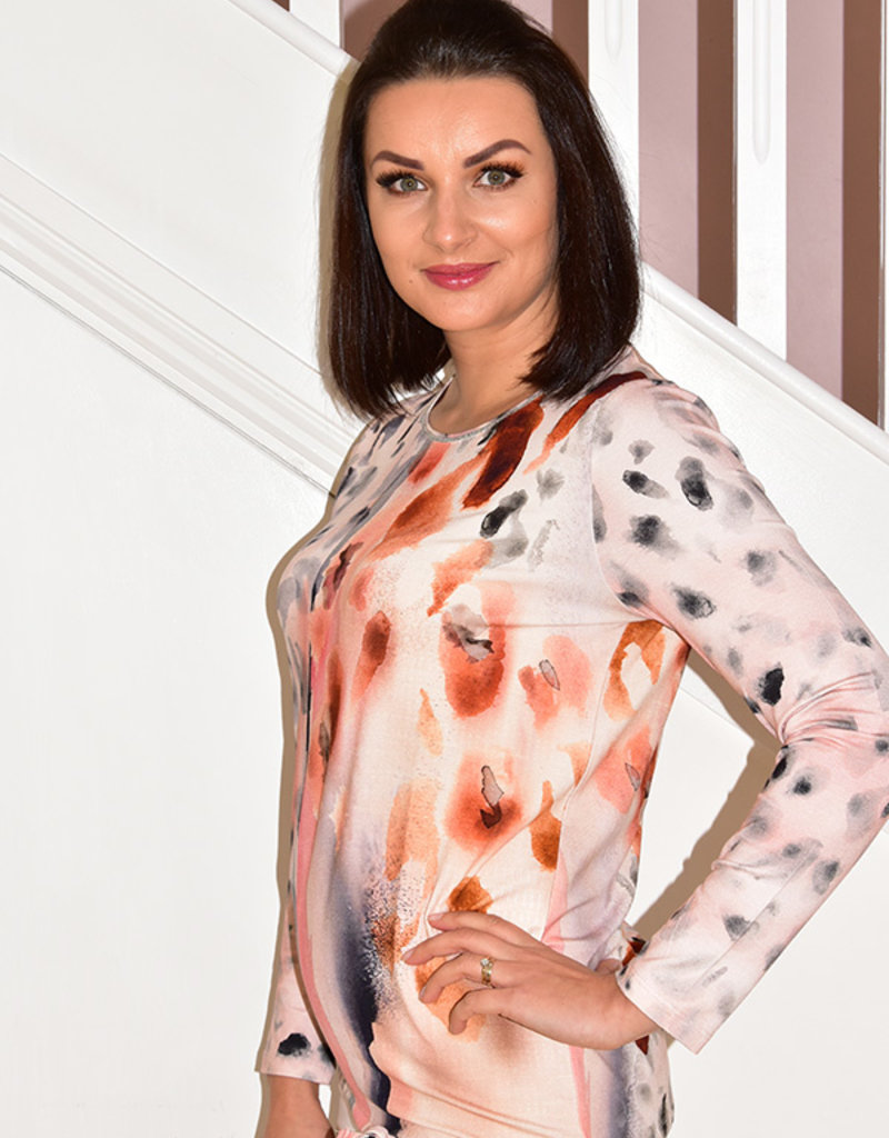 Passioni Multi Pattern Long Sleeve Top With Glitter Trim