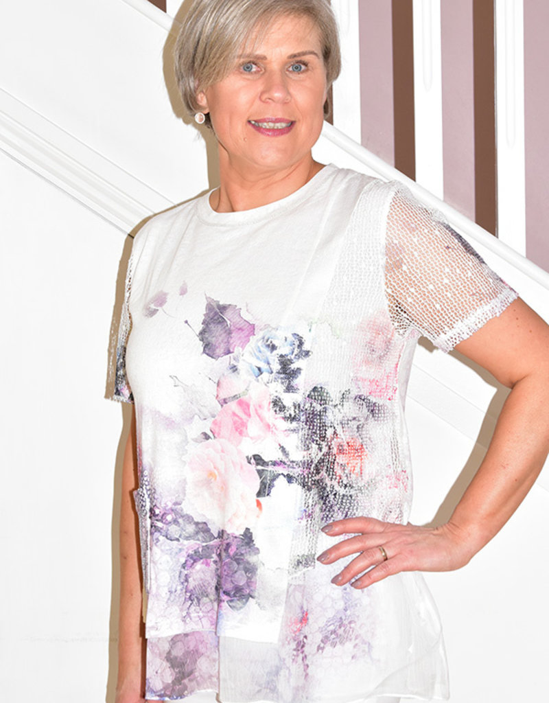 Passioni Floral Top With Crochet Short Sleeves