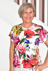 Passioni Floral Short Sleeve Top With Elasticated Detail