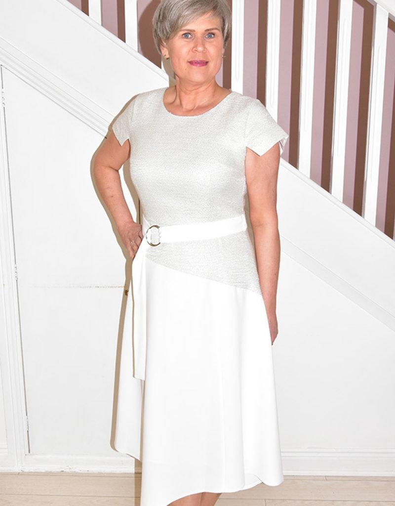 ELLA BOO Sleeveless Dress With Textured Top & Belt