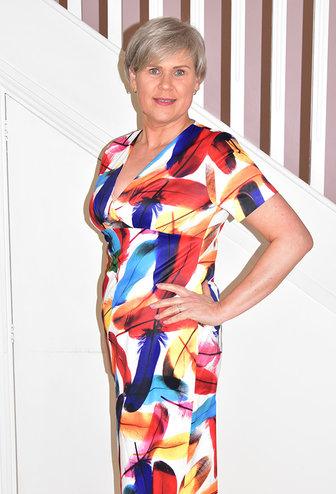 LIBRA Feather Print Short Sleeve Multi Pattern Dress
