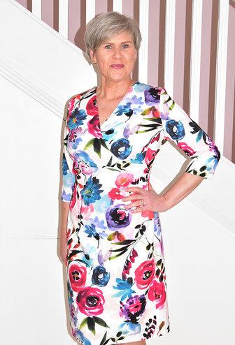 OLIMARA V Neck Floral Print Dress With Side Ruching
