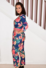 OLIMARA Floral Pattern Jumpsuit With Coral Belt & Buttons