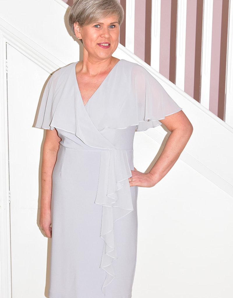 JOSEPH RIBKOFF Grey Frost Short Sleeve Dress With Ruffle on Waist