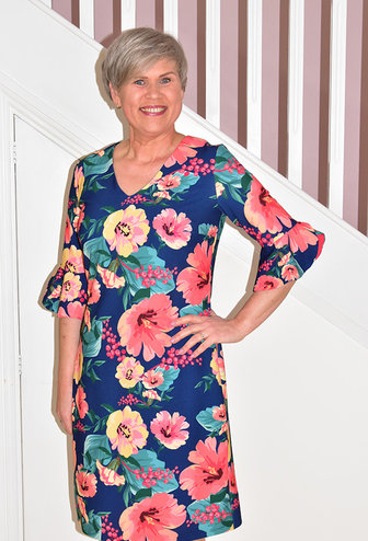OLIMARA Floral Print Dress With Short Bell Sleeve