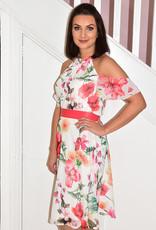 OLIMARA Cold Shoulder Dress With High Neck & Belt