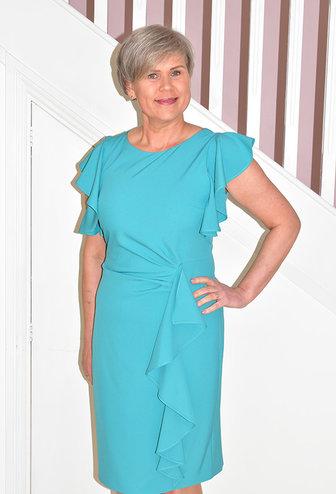 OLIMARA Short Sleeve Dress With Ruffle Sleeves & Side
