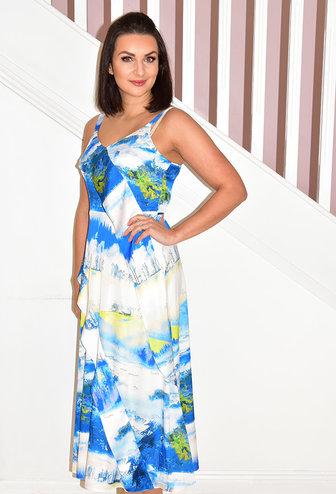 ELLA BOO Sleeveless Dress With Multi Print Blue Design & Tie